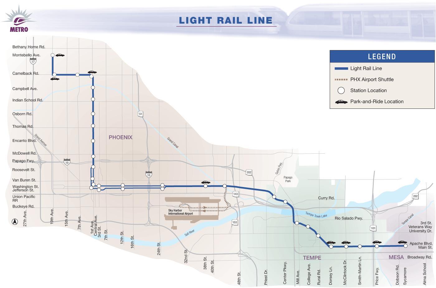 Light rail Phoenix map Phoenix light rail map 2016 Arizona USA