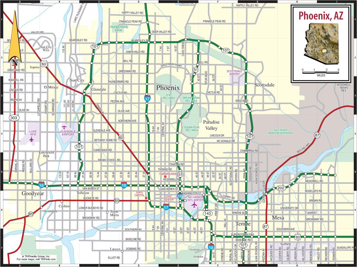 Map Of Phoenix Az Map of Phoenix az   Phoenix az map (Arizona   USA) Map Of Phoenix Az
