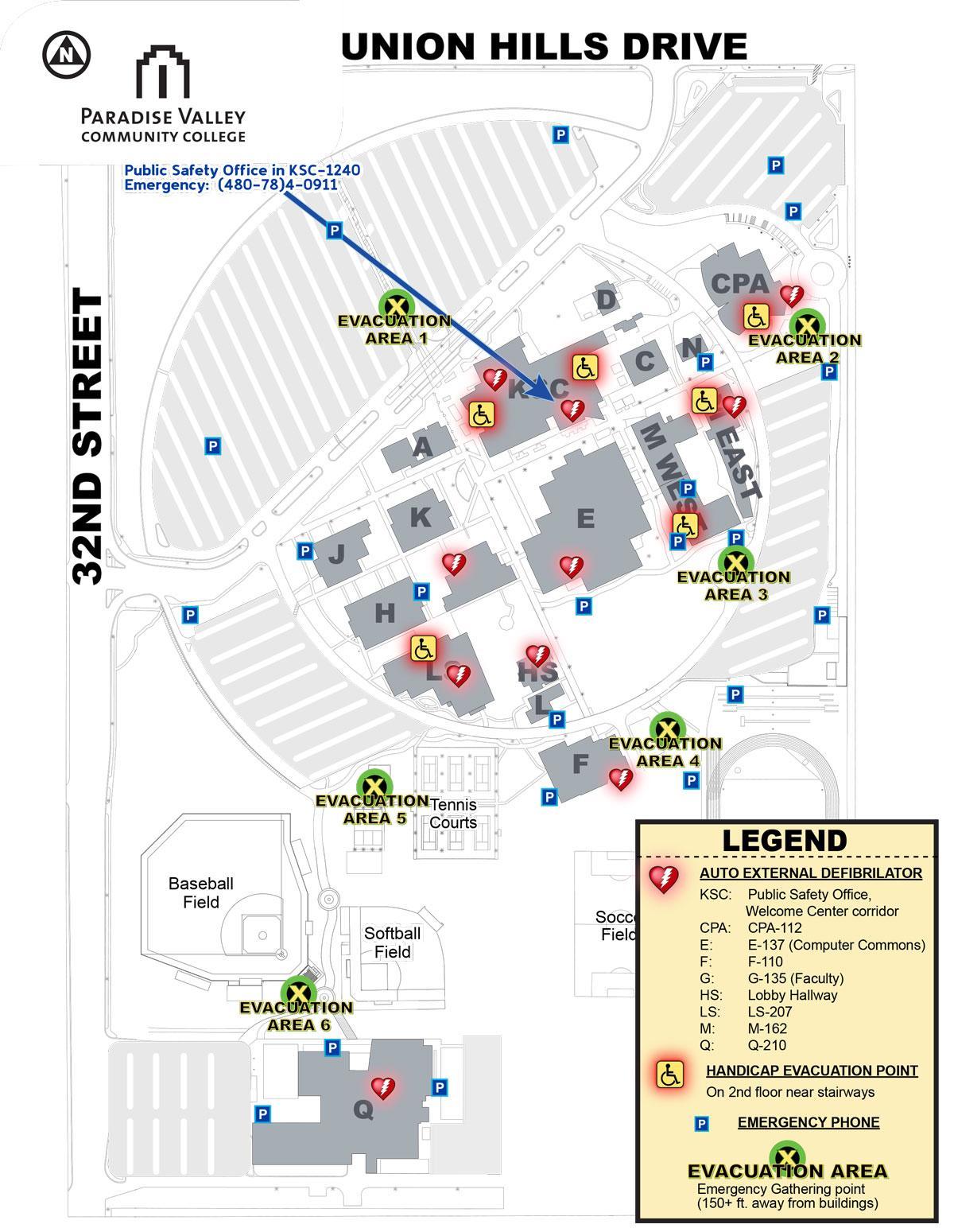Phoenix college campus map   Phoenix college map (Arizona   USA)