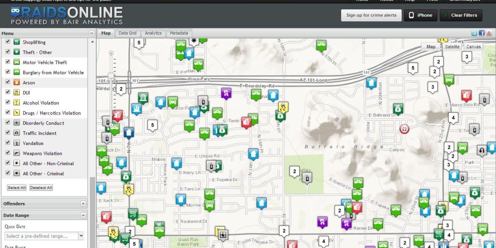 Phoenix crime map by zip code - Crime map Phoenix az