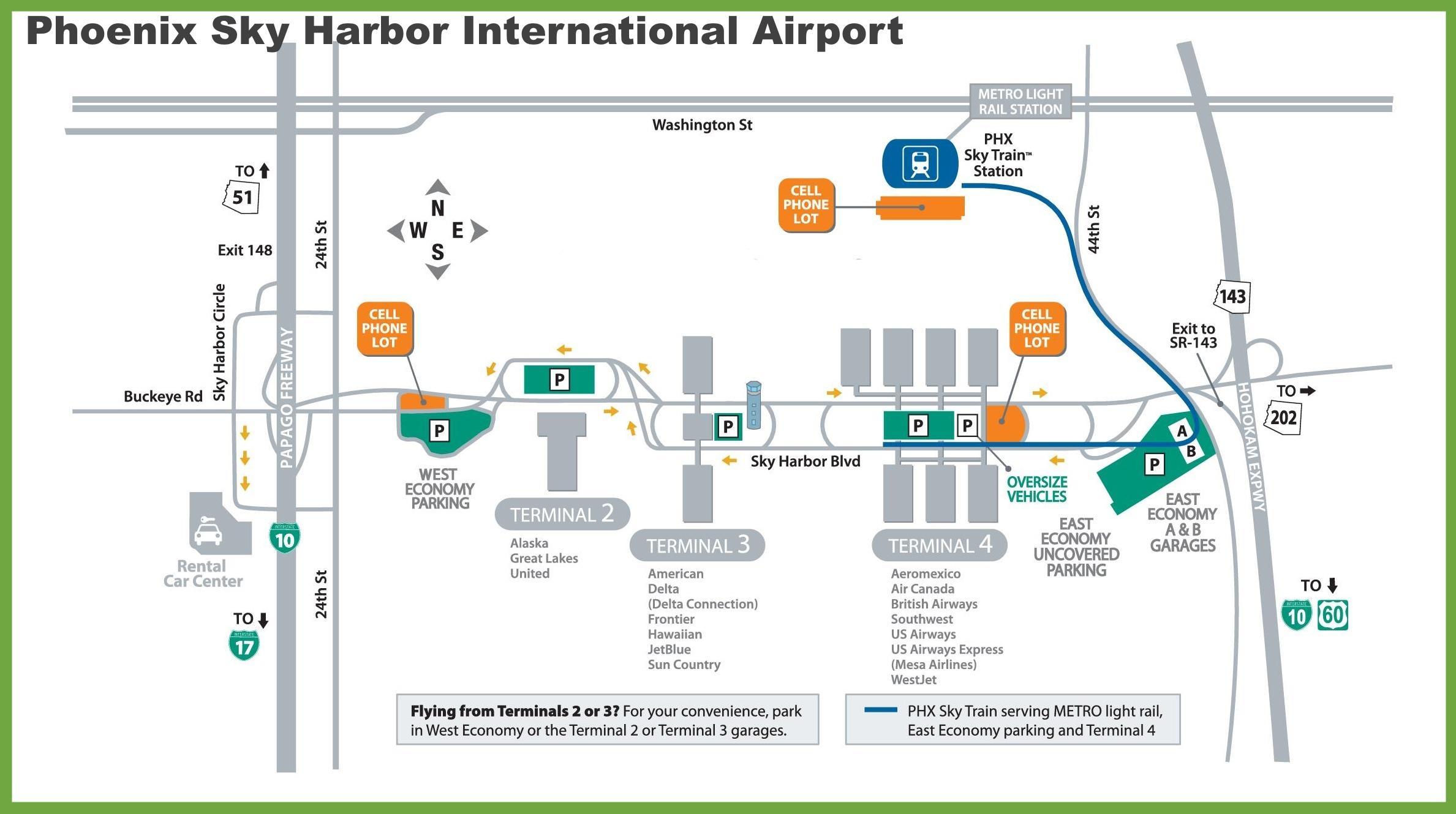 Phx airport map - Map of Phoenix airport (Arizona - USA)