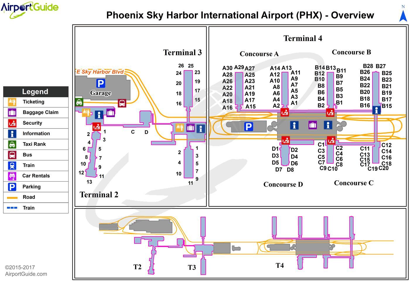 Phx Airport Terminal Map Phx Terminal Map Arizona Usa