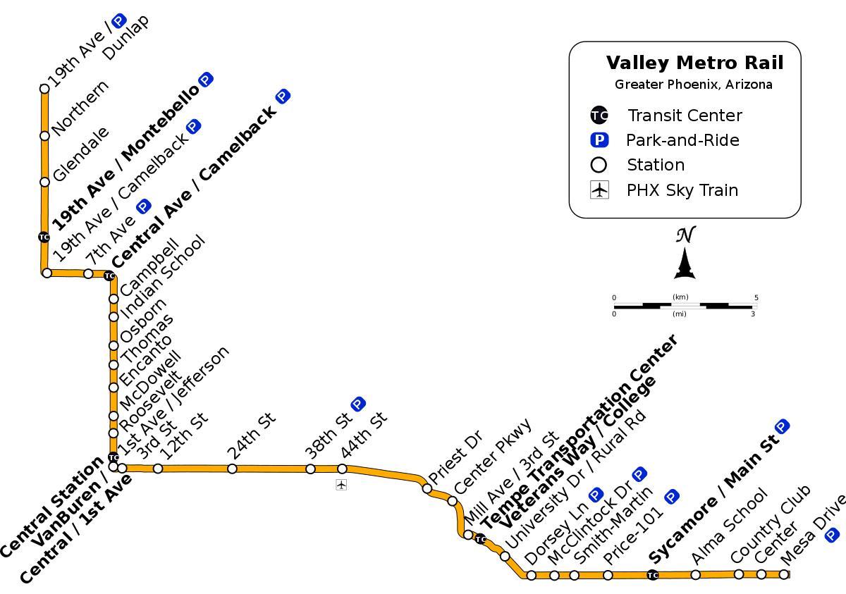 Valley metro bus map - Valley metro bus route map (Arizona