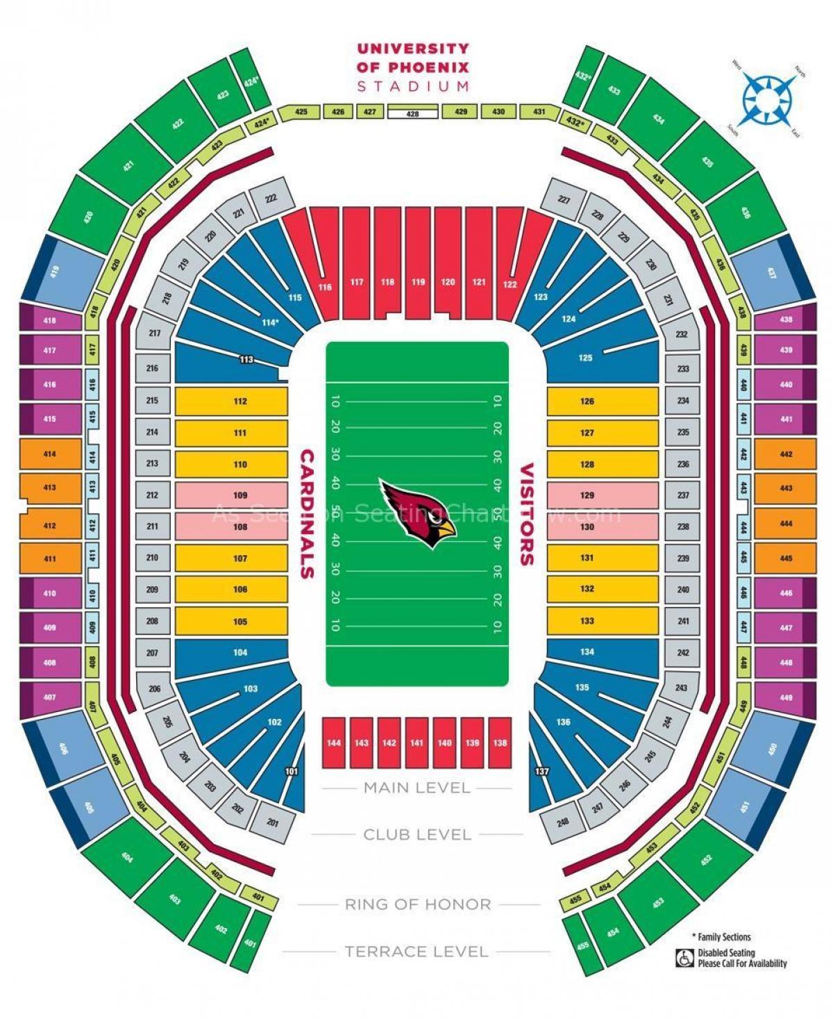 Cardinals Seating Map Cardinal stadium seating map   University of Phoenix stadium