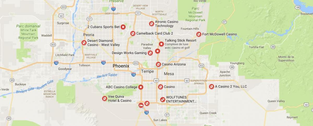 Phoenix Area Casinos Map Phoenix casinos map   Map of Phoenix casino (Arizona   USA)
