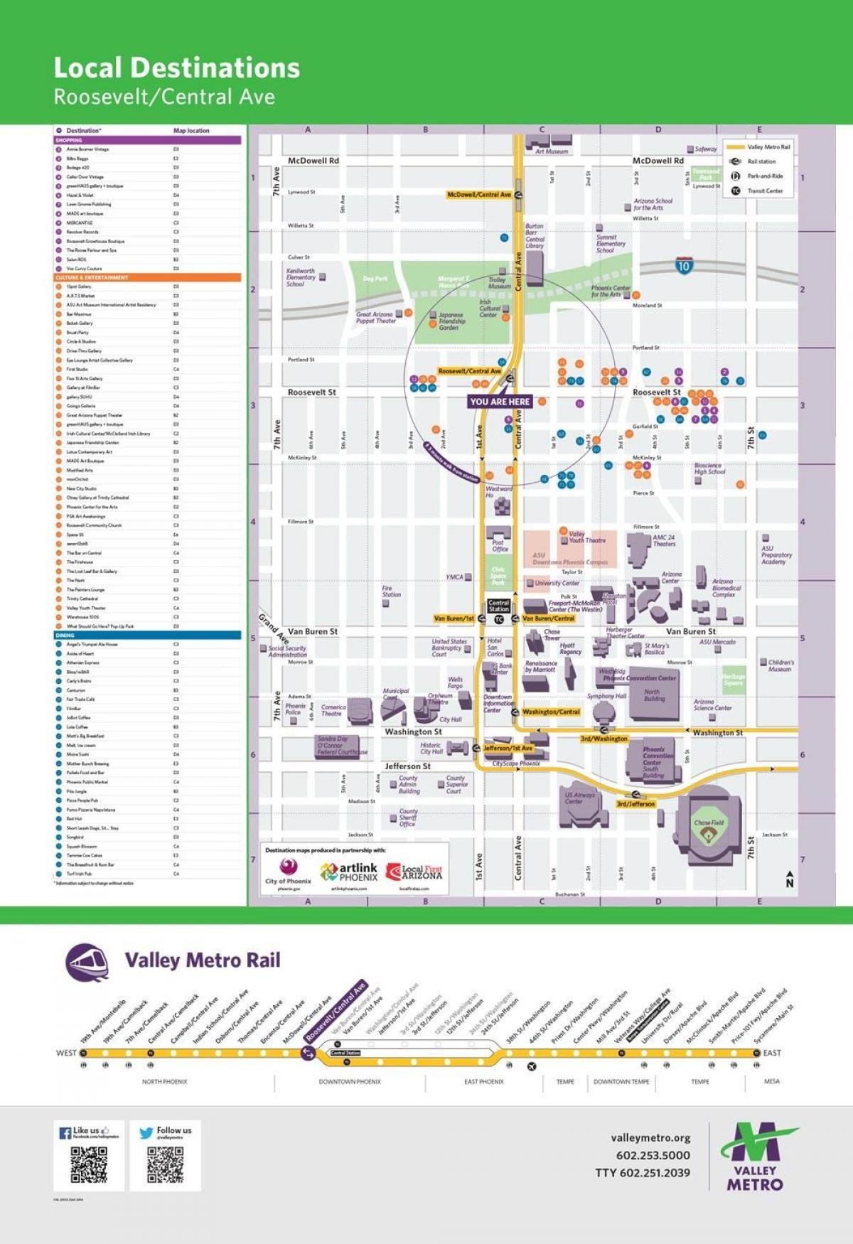 Phoenix Valley metro light rail map Phoenix Valley metro map