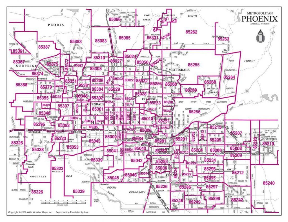Zip code map Phoenix   City of Phoenix zip code map (Arizona   USA)